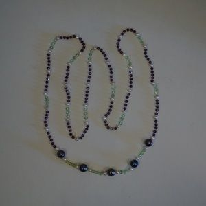"34"" Genuine Pearl, Peridot & Garnet Bead Necklace"